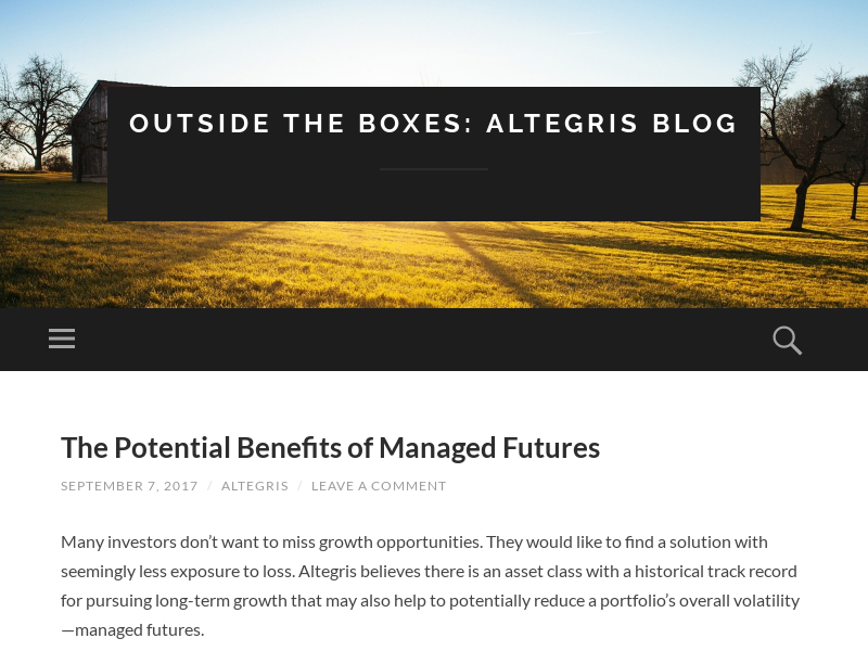 OUTSIDE THE BOXES: ALTEGRIS BLOG