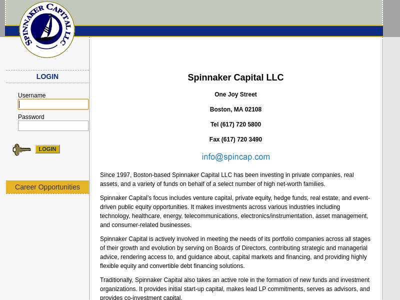 Spinnaker Capital LLC Home Page