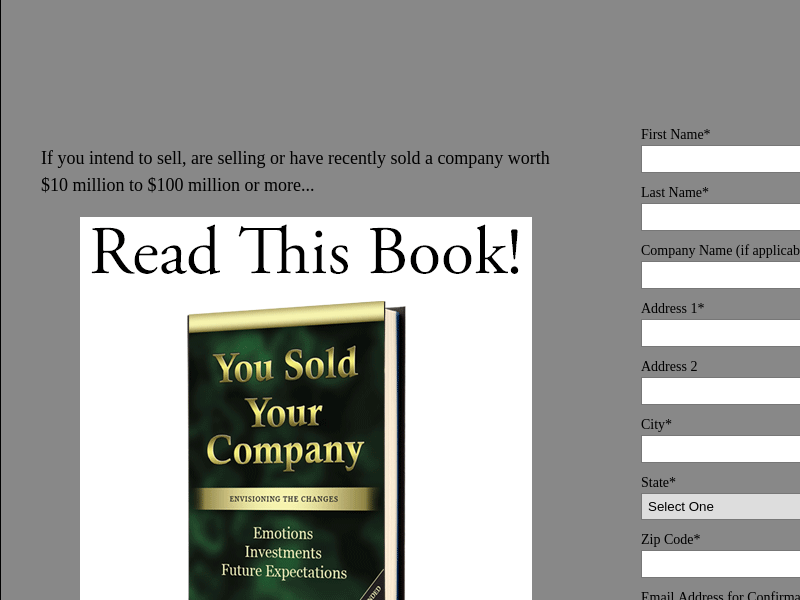You Sold Your Company - Complimentary Book Request Form