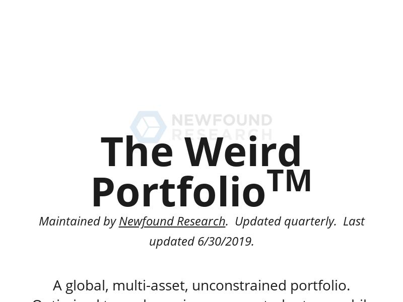 The Weird Portfolio – An unconstrained, optimized portfolio allocation