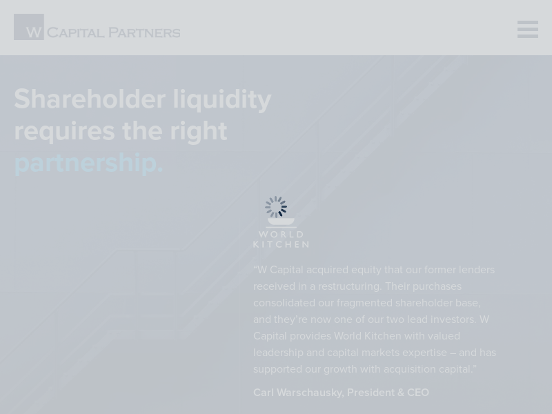 W Capital Partners | Providing liquidity alternatives in direct private equity