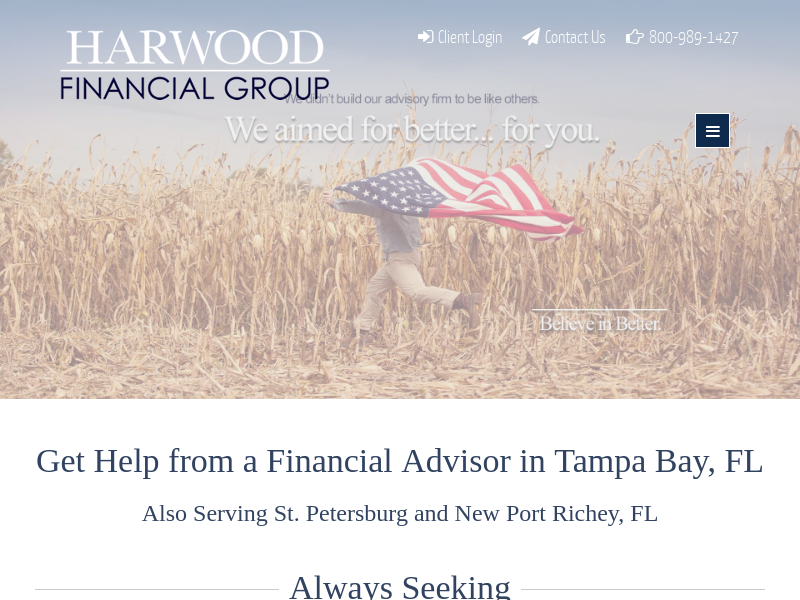 Financial Planning for Tampa Bay, FL | Harwood Financial Group