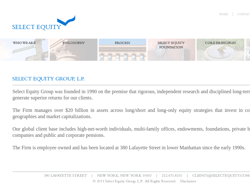 Select Equity - Home Page