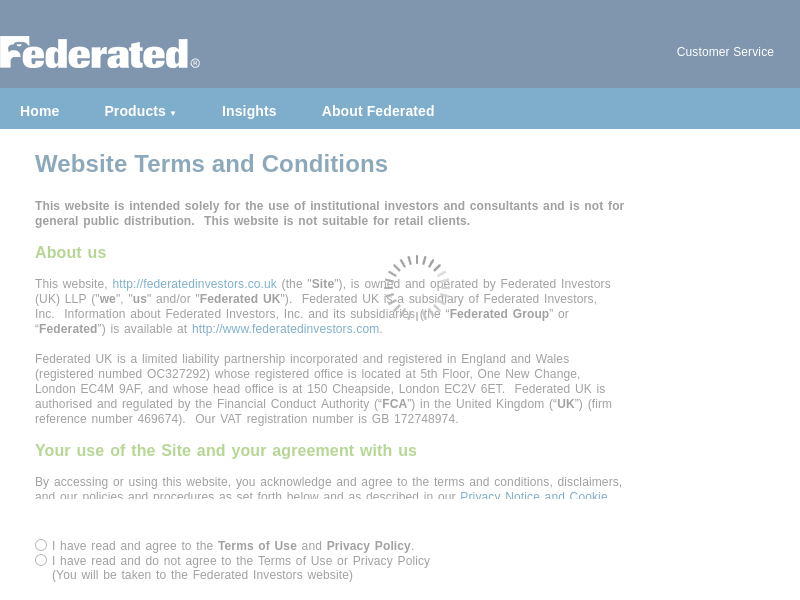 Federated: Federated Website Terms and Conditions
