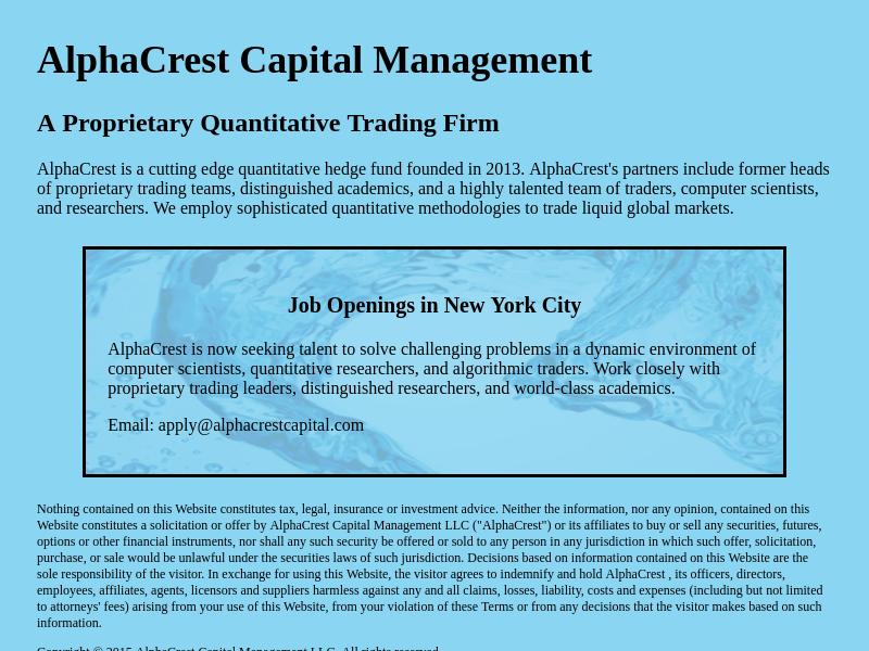 AlphaCrest Capital Management