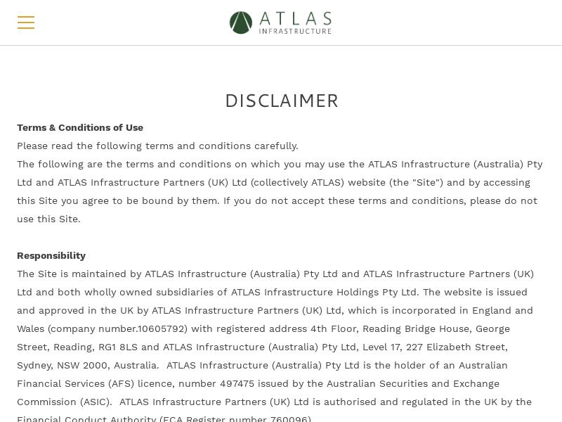 ATLAS Infrastructure - Disclaimer