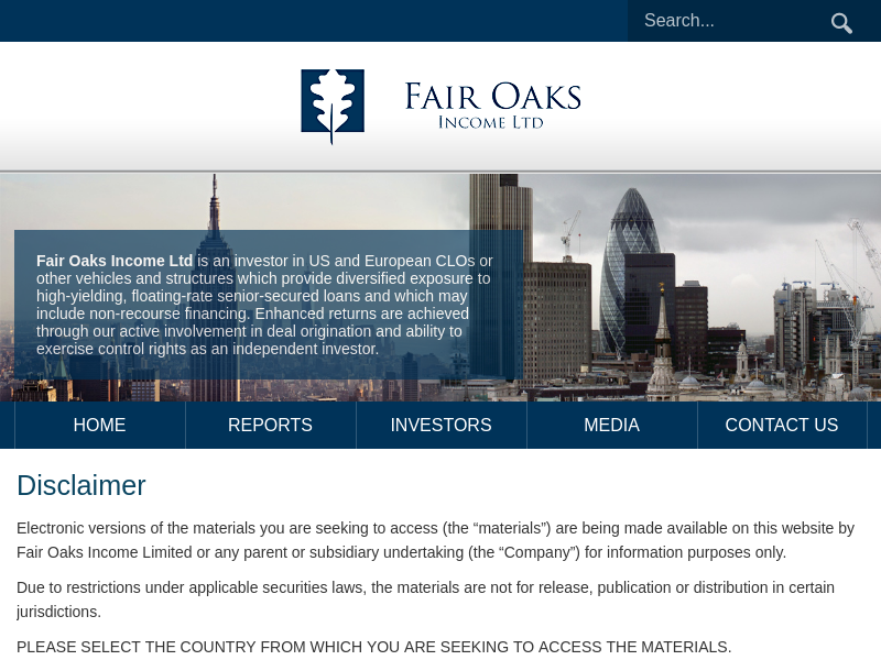 Disclaimer – Fair Oaks Income Limited