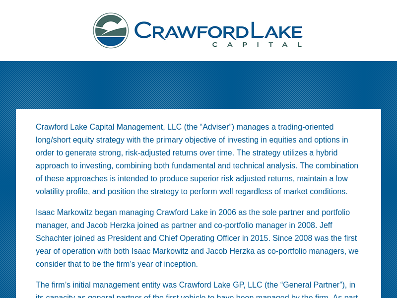 Crawford Lake Capital Management