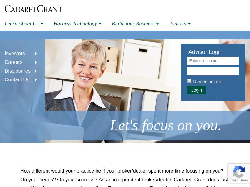 Cadaret, Grant — A truly independent broker/dealer.