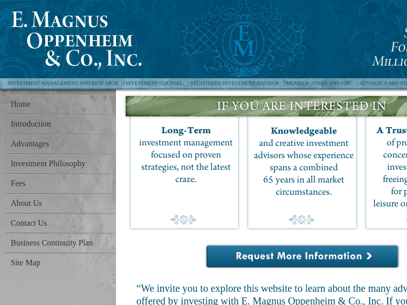 E. Magnus Oppenheim & Co., Inc. - Investment Strategy for Prudent Millionaires