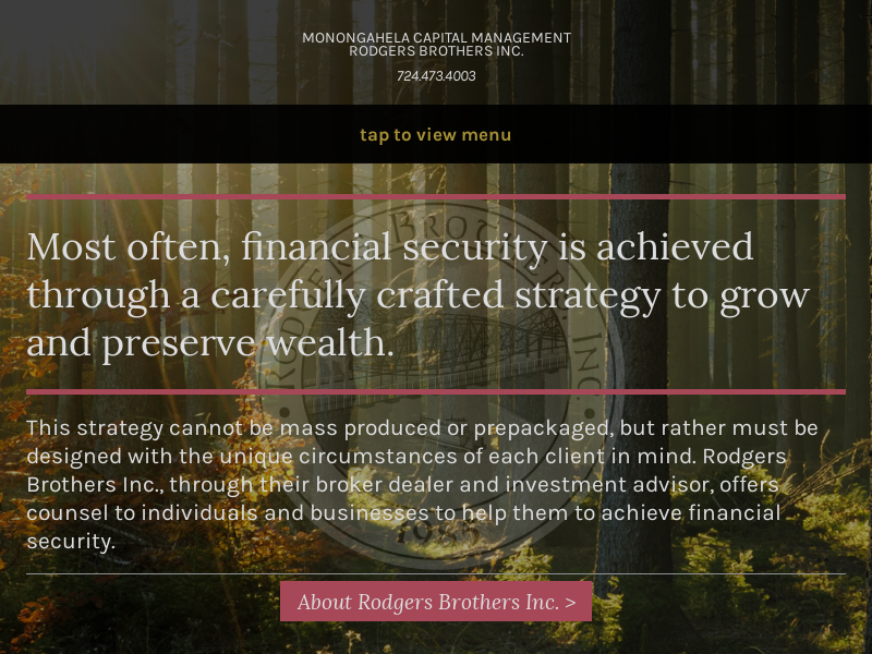 Rodgers Brothers Inc. and Monongahela Capital Management - Rodgers Brothers Inc.