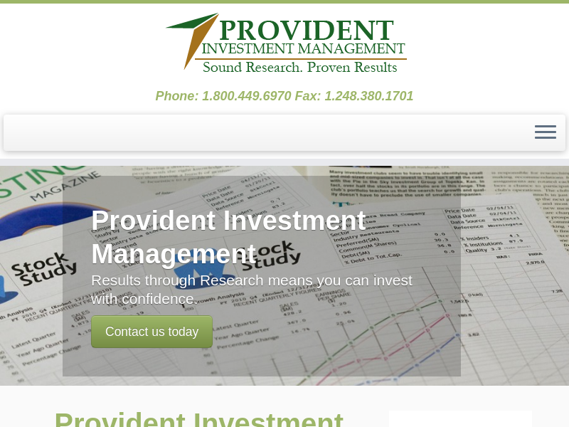Provident Investment Management – Phone: 1.800.449.6970 Fax: 1.248.380.1701