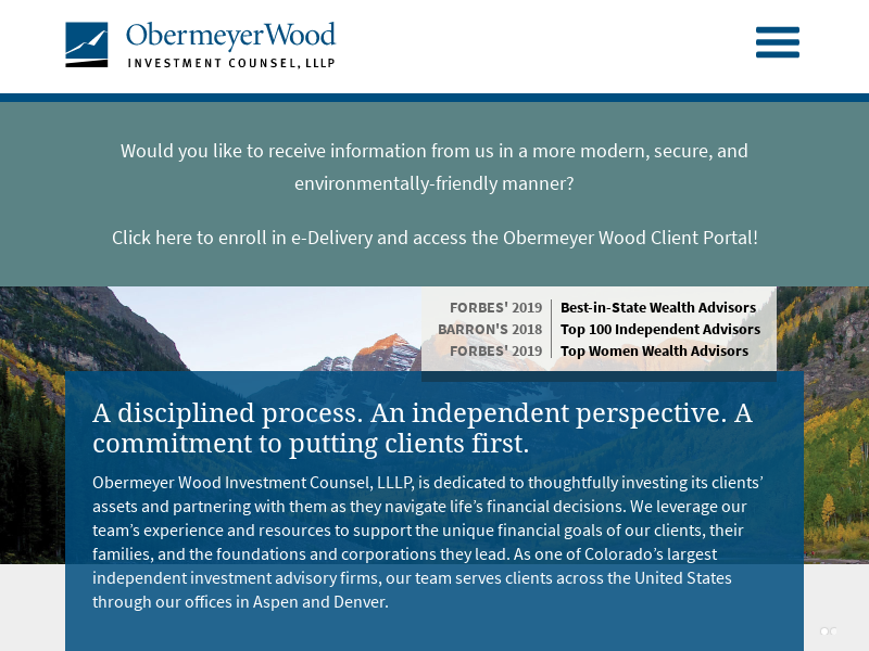 Obermeyer Wood Investment Counsel | Independent Investment Advisor