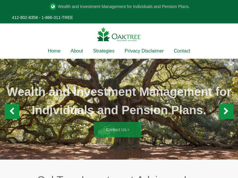 OakTree Investment Advisors - Wealth and Investment Management for Individuals and Pension Plans. Pittsburgh PA