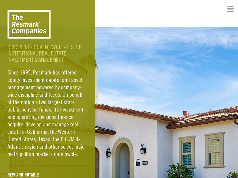 Resmark | Private Equity Real Estate Fund Manager for Institutional Investors including CalSTRS and CalPERS – Housing, Multifamily, Emerging Manager JVs