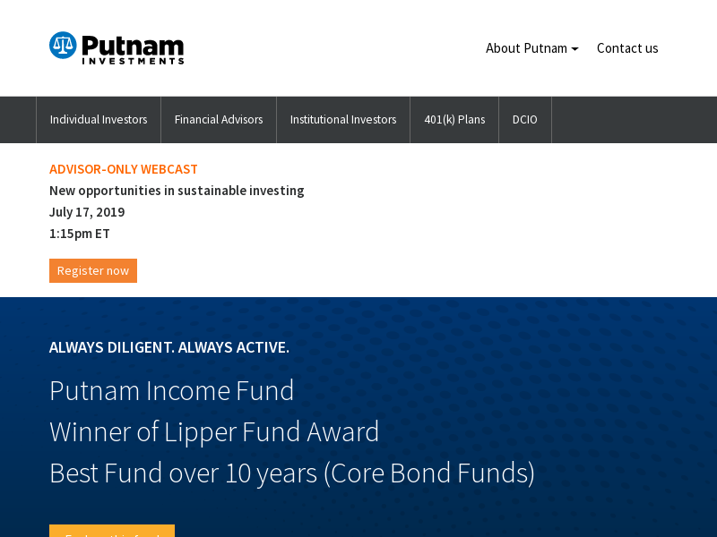 Putnam Investments - Mutual funds, Institutional, and 529