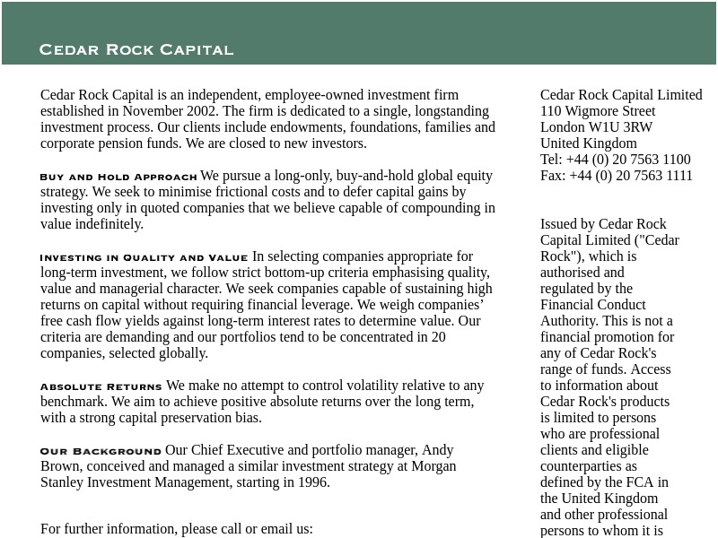 Cedar Rock Capital