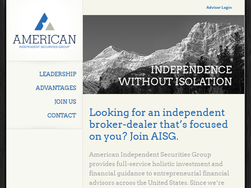 AISG, LLC » American Independent Securities Group, LLC | Member FINRA/SIPC | AISG is an SEC Registered Investment Advisor