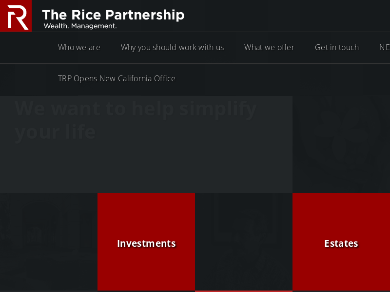 | The Rice Partnership :: Wealth. Management. :: The Rice Partnership believes in building long term relationships based on the right fit and a high degree of trust that is earned every single day.  It's a one-on-one approach that clients who value pri…