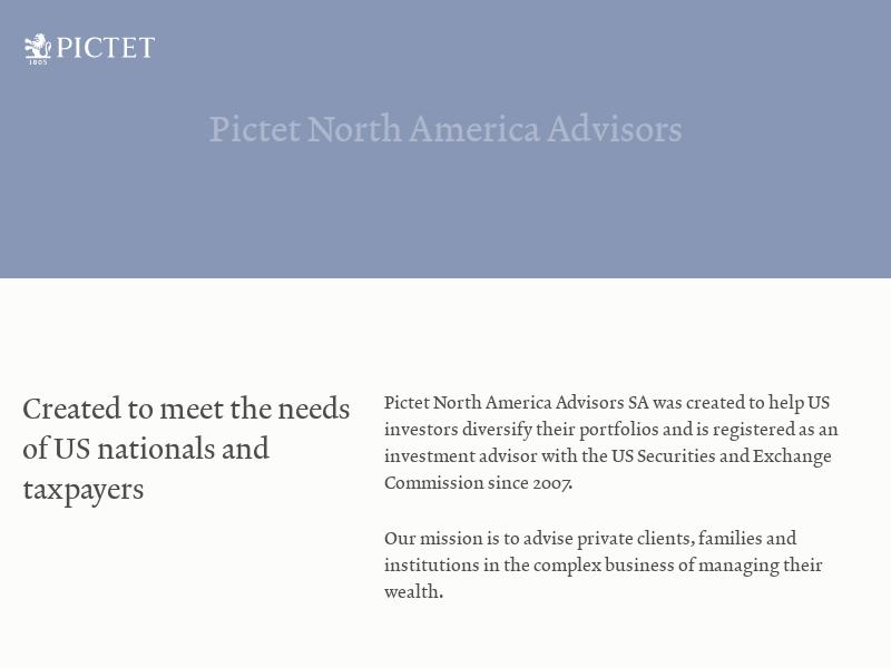 Pictet North America Advisors