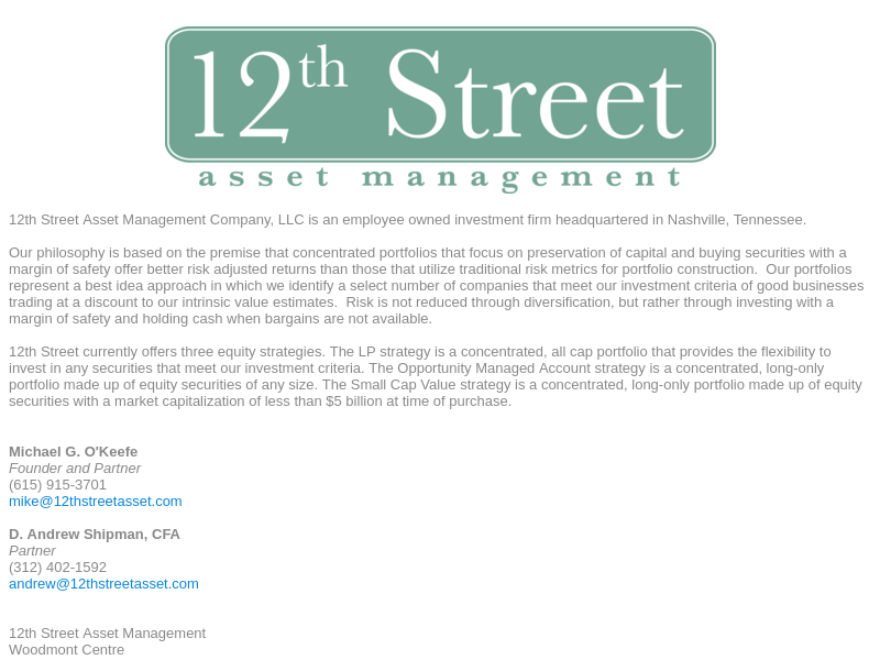 12th Street Asset Management Chicago, IL 12th Street