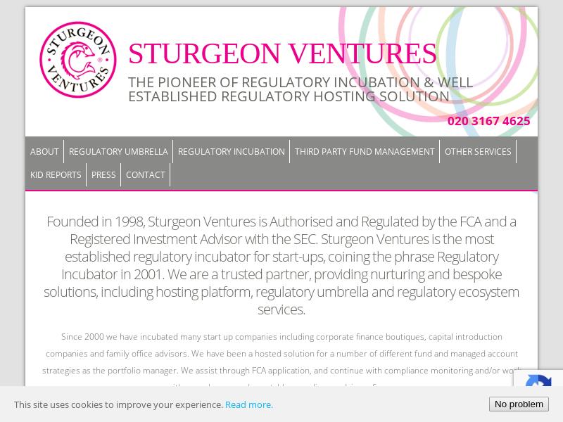 Regulatory Umbrella Services /Regulated Hosting - Sturgeon Ventures - The Pioneer of Regulatory Incubation & well established Regulatory Hosting Solution