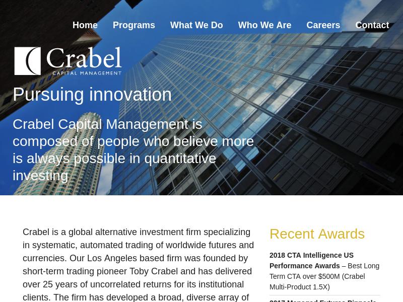 Crabel Capital Management | Quantitative Finance | Investment Firm