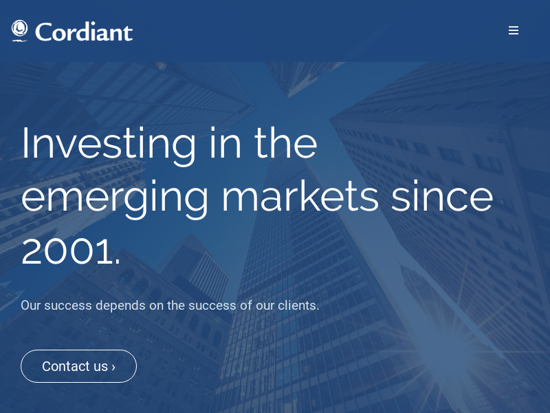 Cordiant Capital Inc. Investing in the emerging markets since 2001.