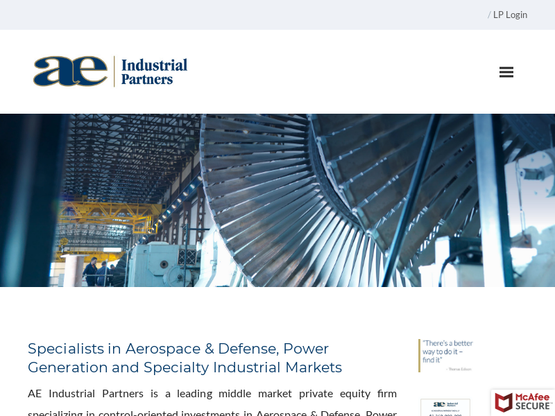 AE Industrial Partners, LP - aerospace and industrial power generation private equity investment firm