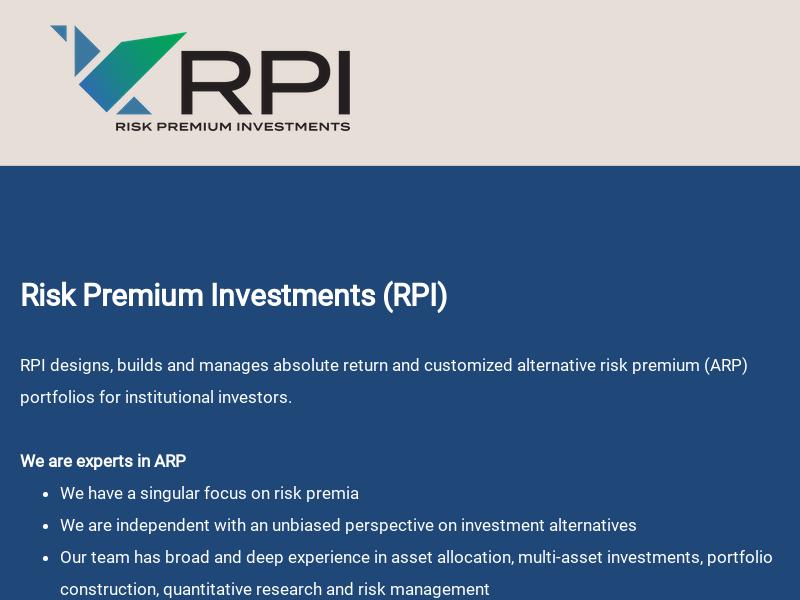 Risk Premium Investments (RPI)