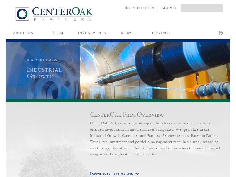 CenterOak Firm Overview   CenterOak Partners