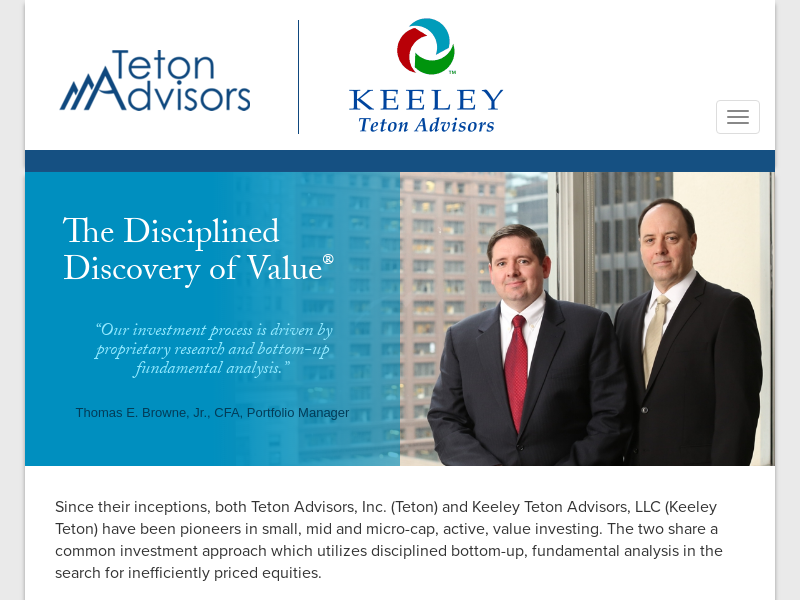 Small Cap Value Investing Pioneers | Keeley Teton Advisors, LLC