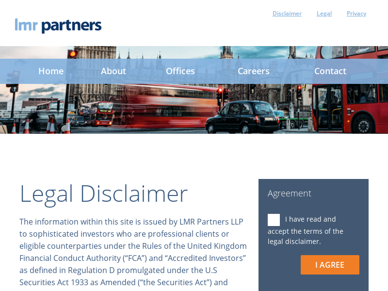 Legal Disclaimer – LMR Partners