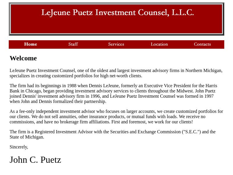 LeJeune Puetz Investment Counsel, L.L.C.