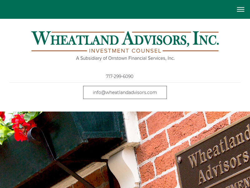 Wheatland Advisors, Inc. is a Registered Investment Advisor located in Lancaster, PA