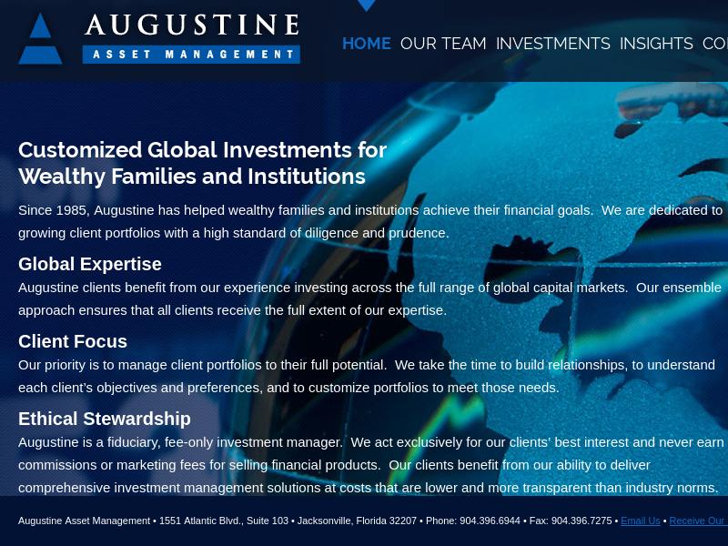 Augustine Asset Management Jacksonville FL, Investment management Jacksonville FL wealth institutional assets fee only