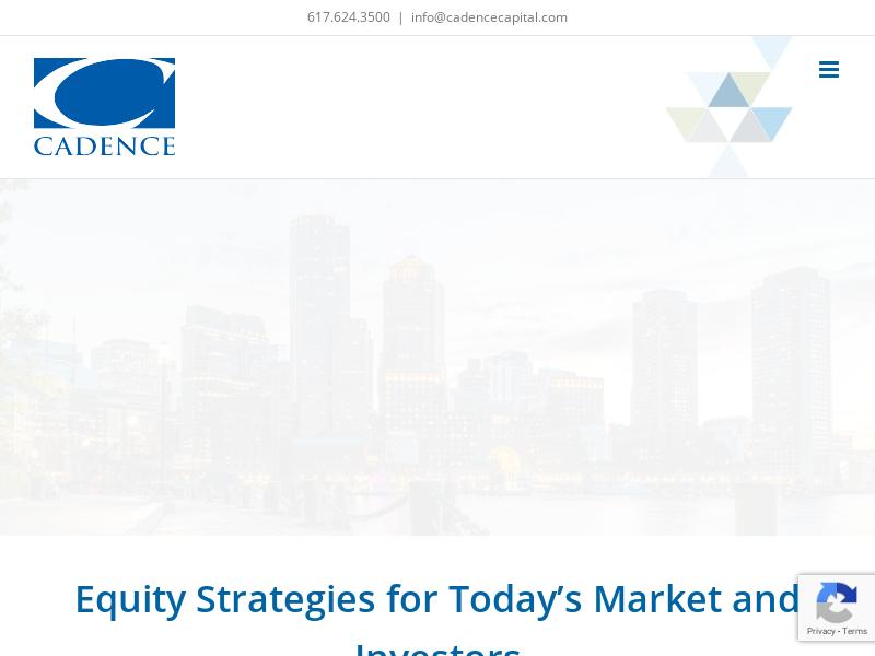 Cadence Capital – A BALANCE OF DISCIPLINE AND JUDGMENT