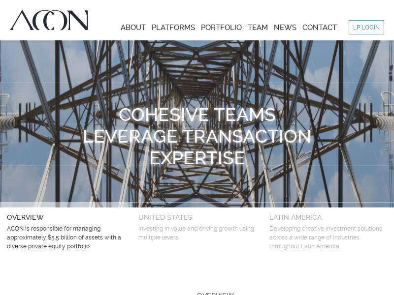 ACON INVESTMENTS – A diversified international private equity firm with investments in the United States and Latin America