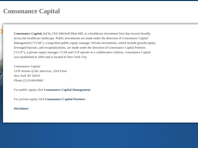 Consonance Capital