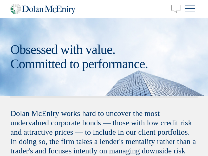 Dolan McEniry - Obsessed with value.  Committed to performance.
