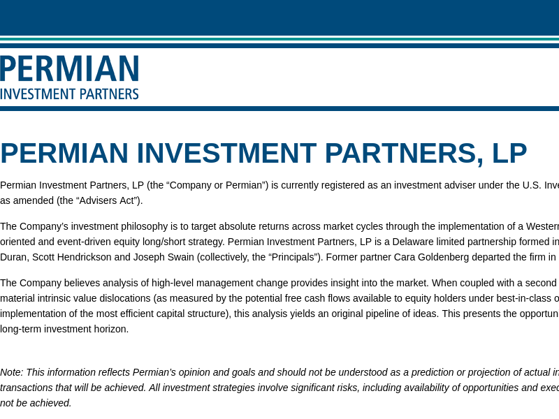 Permian Investment Partners, LP
