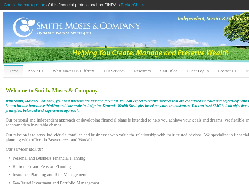 Smith, Moses & Co Create, Manage & Preserve Wealth - SMITH, MOSES & COMPANY, LLC