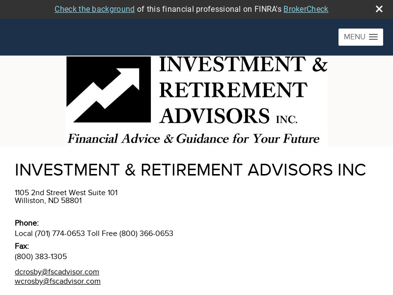 Investment & Retirement Advisors, Inc. Williston ND