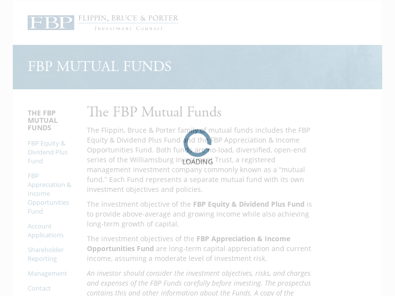 FBP Mutual Funds – Investment Counsel