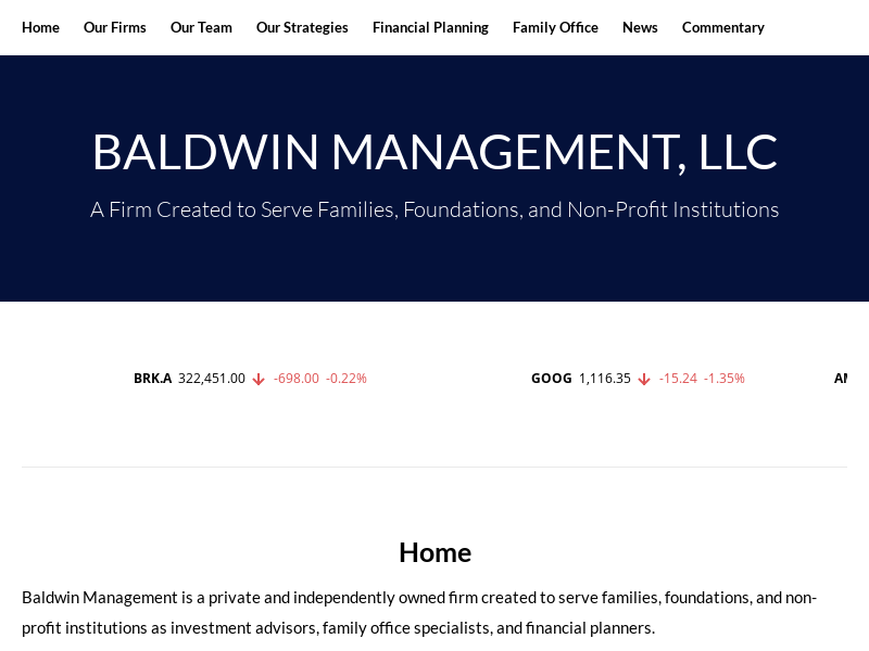 BALDWIN MANAGEMENT, LLC – A Firm Created to Serve Families, Foundations, and Non-Profit Institutions