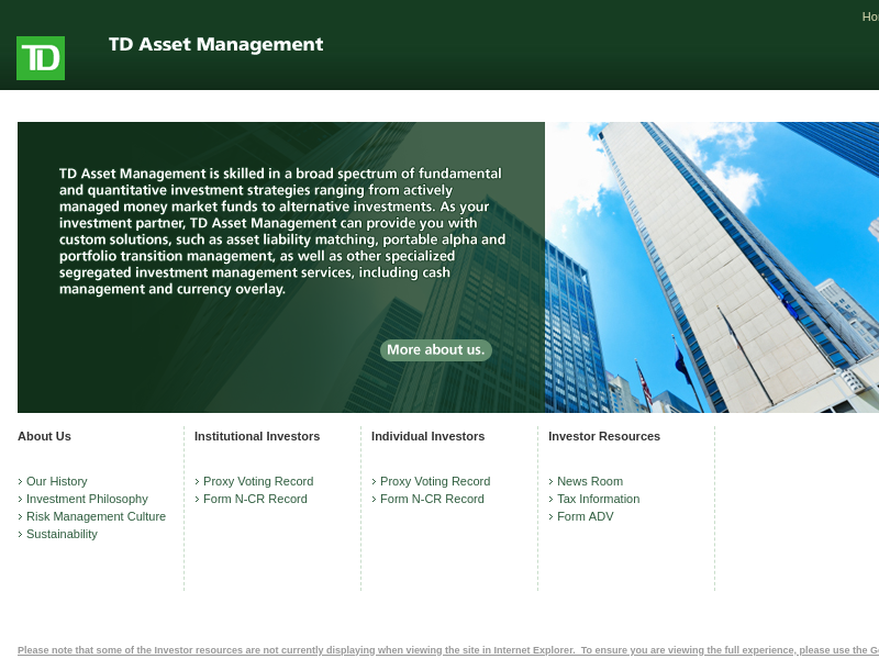 TD Asset Management USA-Home Page