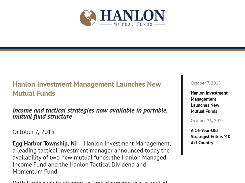 Hanlon Investment Management Mutual Funds
