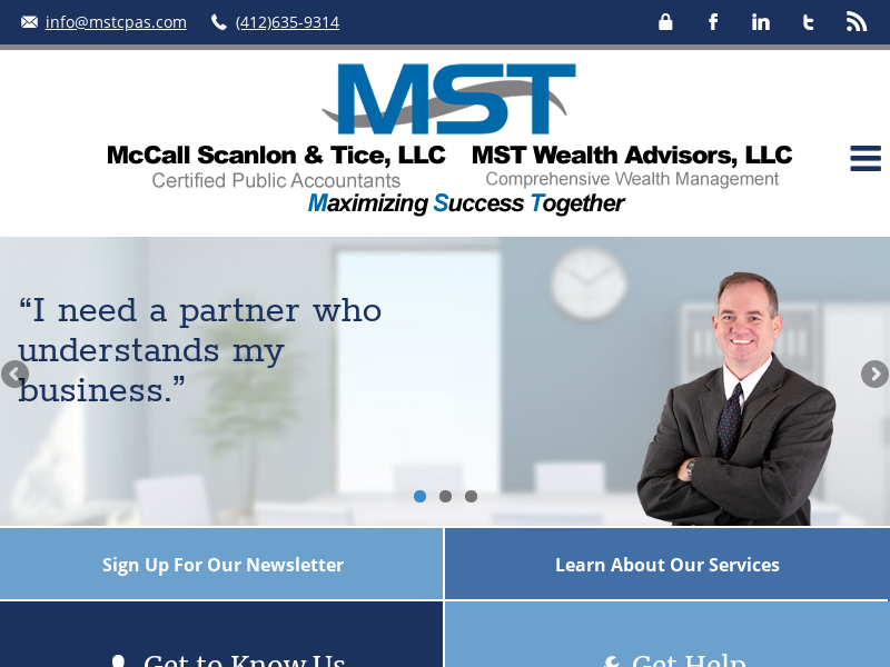 Pittsburgh, PA and Kittanning PA CPA Firm   Wealth Management Page   McCall Scanlon & Tice, LLC