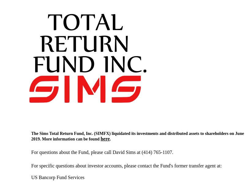 Sims Total Return Fund, Inc.