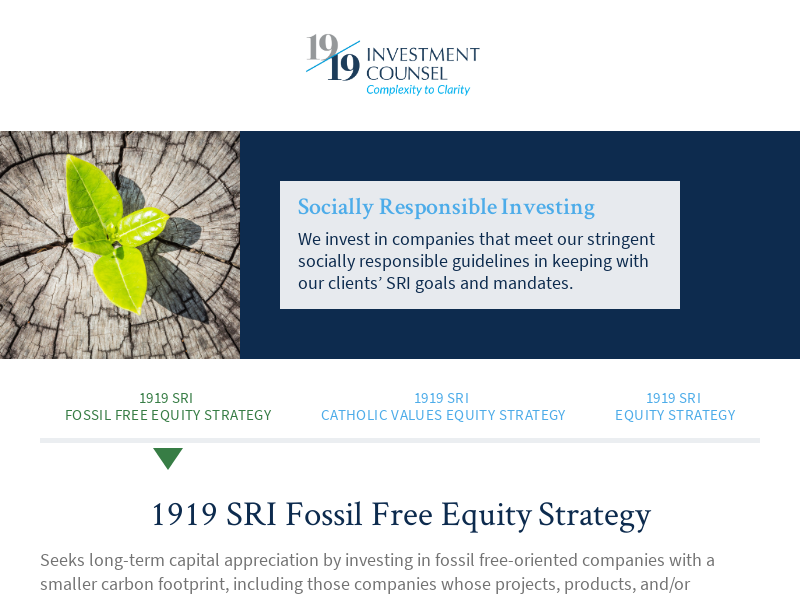 1919 SRI Fossil Free Equity Strategy | 1919 Investment Counsel